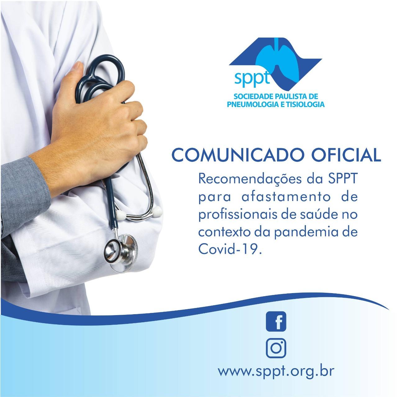 Recomendações da SPPT para afastamento de profissionais de saúde no contexto da pandemia de Covid-19