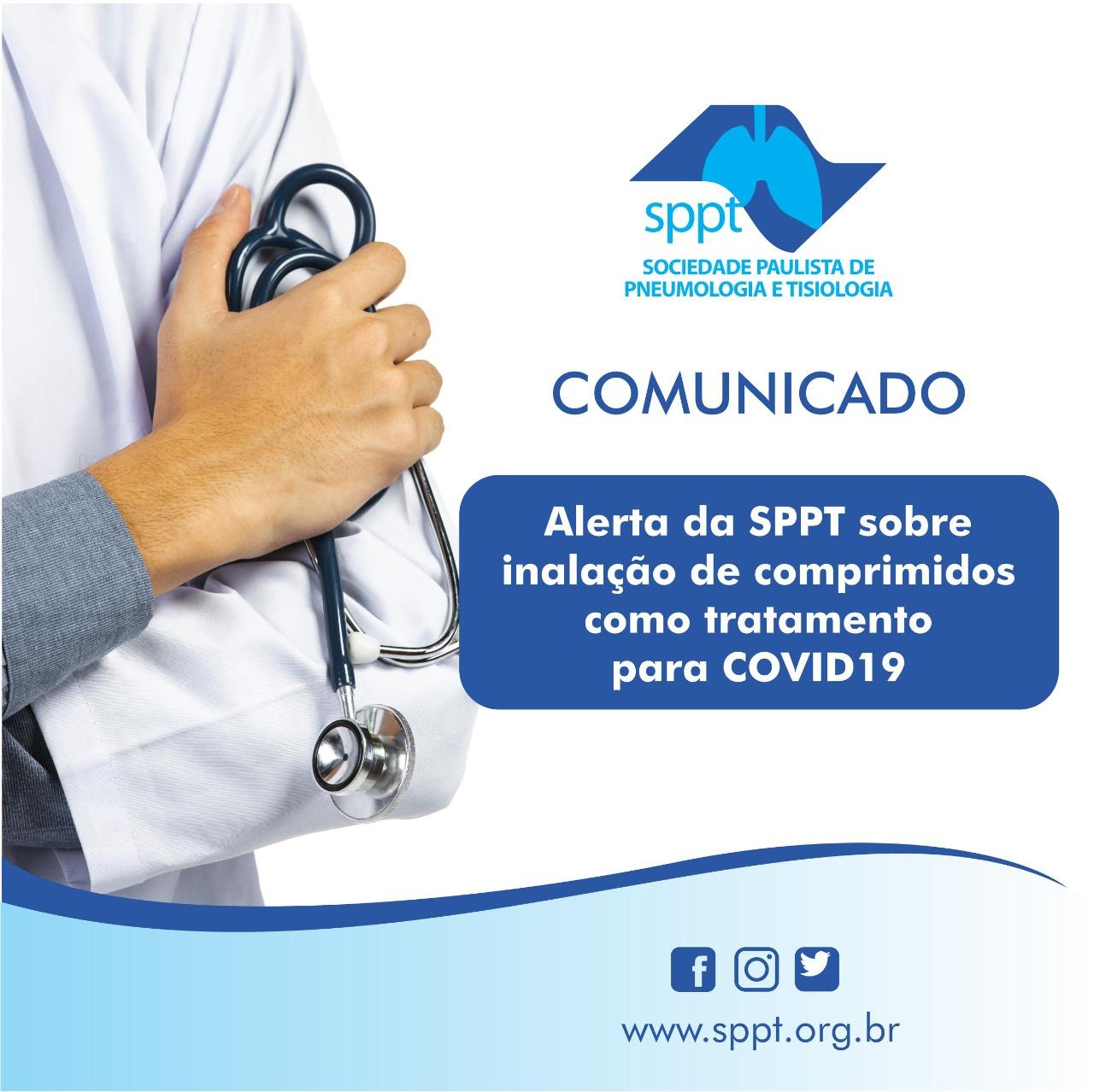Alerta da SPPT sobre inalação de comprimidos como tratamento para COVID19