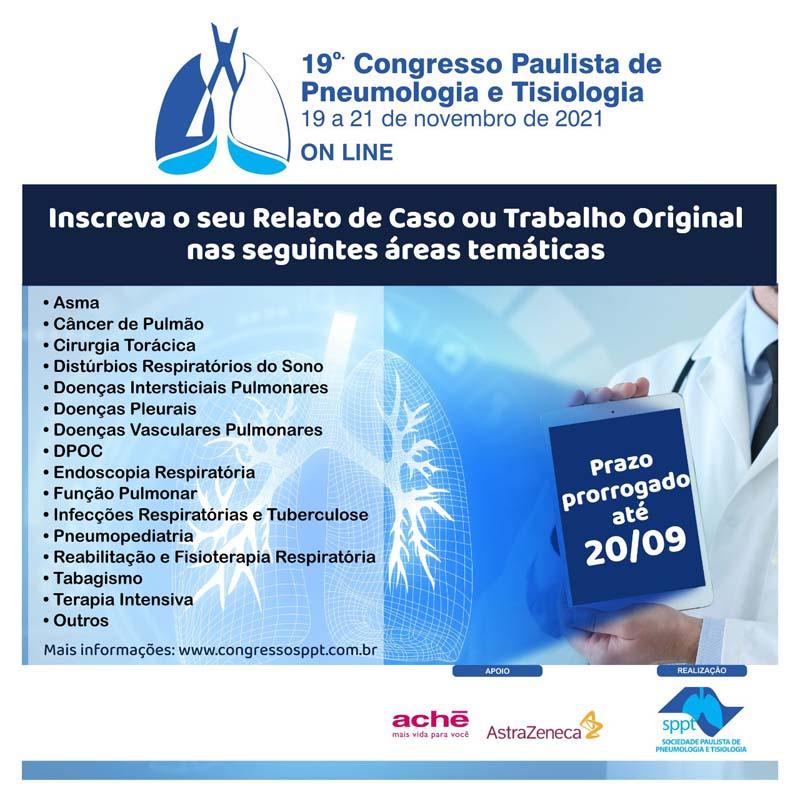 Inscreva seu Trabalho até 20/09, prazo prorrogado – 19° Congresso Paulista de Pneumologia e Tisiologia