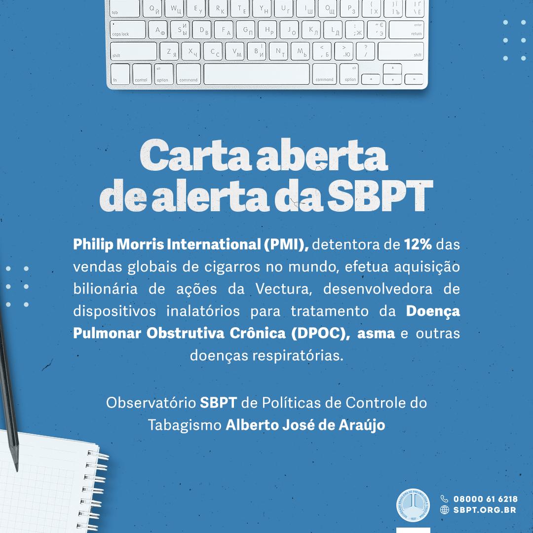 Comunicado da SBPT sobre a aquisição da Vectura pela Philip Morris International